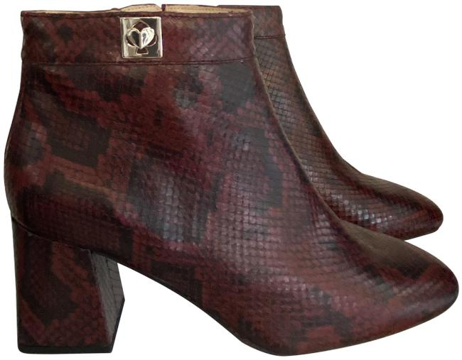 """Item - Black Burgundy W Python Look Leather """"Adalyn"""" Ankle W/Chunky Heels Boots/Booties Size US 10 Regular (M, B)"""