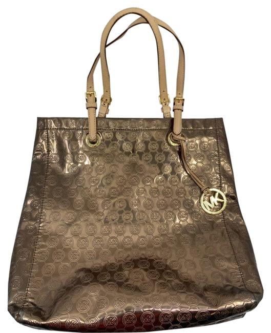 Item - Bag Large All Over Logo Brown Gold Patent Leather Tote