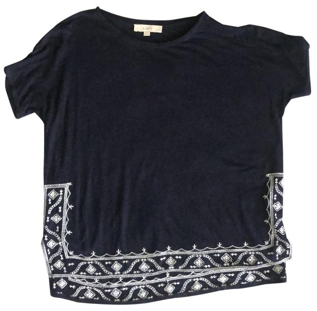 Item - Navy White Embroidered Linen Blend Tee Tunic Size Petite 6 (S)