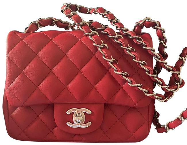 Item - Classic Flap Square Classic Mini Red Lambskin Leather Cross Body Bag