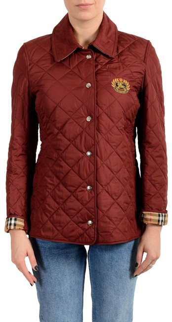 Item - Red Women's Quilted Button Down Coat Jacket Size 8 (M)
