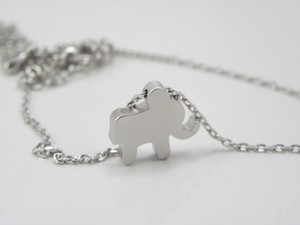 Other Silver Elephant Necklace Tiny Elephant Necklace Mini Elephant Necklace Rhodium Plated Necklace Simple Jewelry
