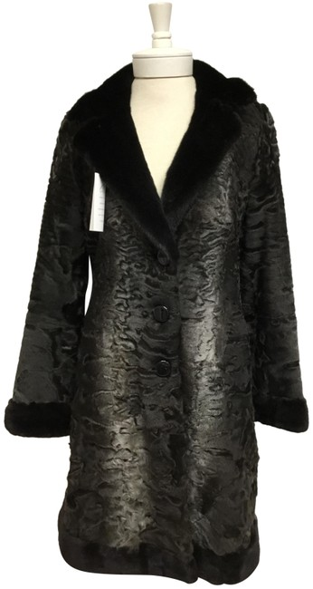 Item - Grey Swakara with Black Mink Collar and Cuffs Coat Size 8 (M)