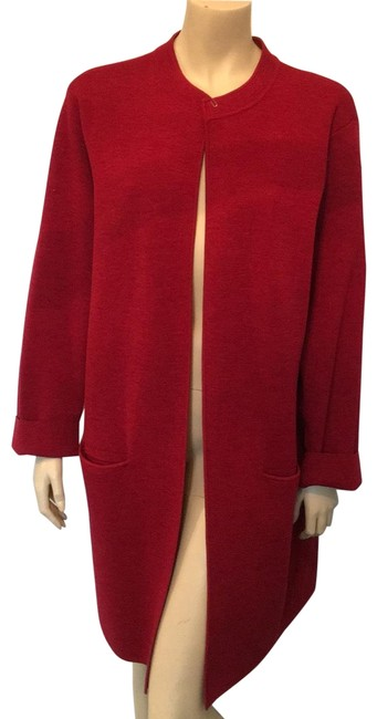 Eileen Fisher Red Poncho/Cape Size 26 (Plus 3x) Eileen Fisher Red Poncho/Cape Size 26 (Plus 3x) Image 1
