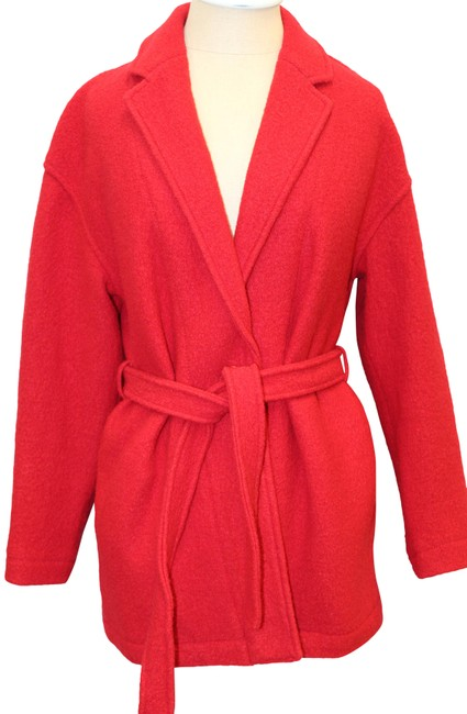 Item - Red Italian Boiled Wool Daphne Topcoat Belted Jacket Coat Size 2 (XS)