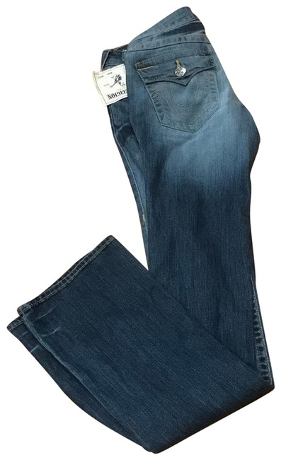 Item - Blue Medium Wash With Flaps Basic Boot Cut Jeans Size 25 (2, XS)