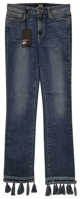 Item - Blue Jacqueline Straight High Rise Straight Crop Tassels Capri/Cropped Jeans Size 24 (0, XS)