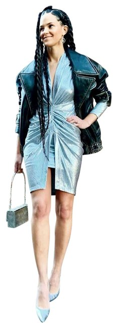 Item - Silver 36(4) Cilty Metallic Rushed Vneck Knit Mini Short Night Out Dress Size 4 (S)