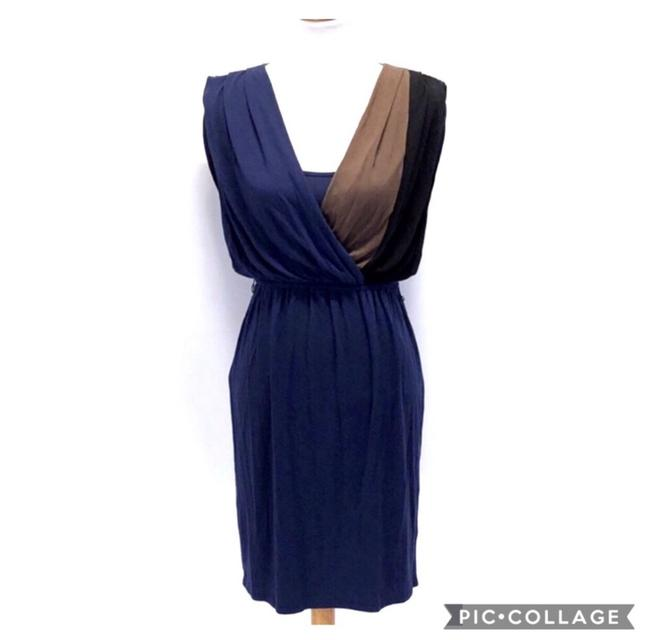 Item - Navy Blue and Brown and Black Sleeveless Faux Wrap Mid-length Work/Office Dress Size 2 (XS)