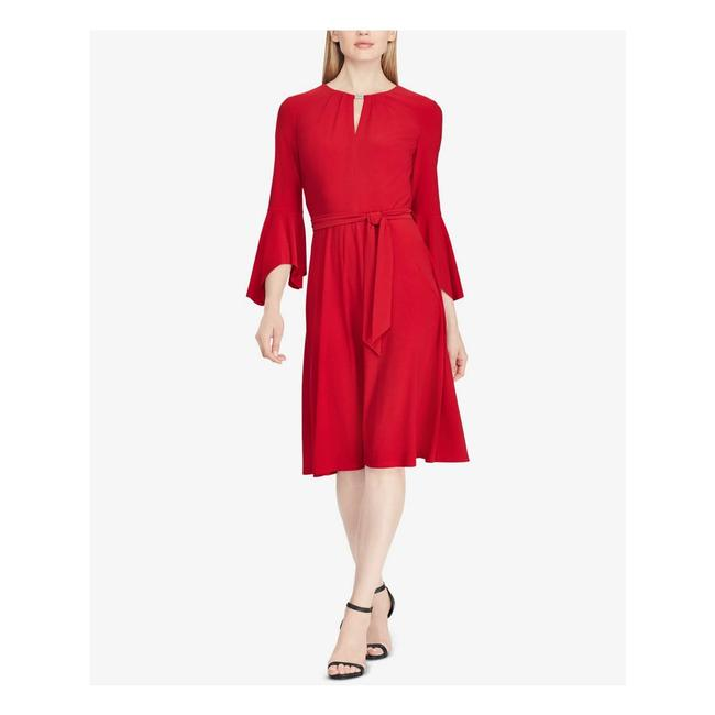 Item - Red Bell Sleeve Keyhole Party 22w New Mid-length Cocktail Dress Size 22 (Plus 2x)