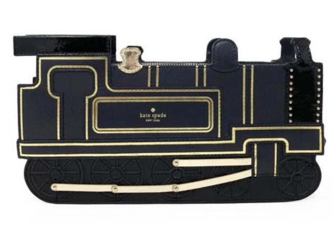 Item - New York All Aboard Train Black and Gold Clutch