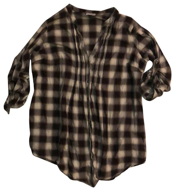 Item - Gray Plaid Pleated Front Maternity Top Size 16 (XL, Plus 0x)