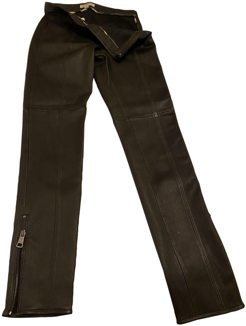 Item - Black Zipper Leather Leggings Size 6 (S, 28)