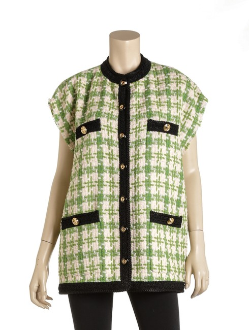 Gucci Green Black Cream Rc 500967 Houndstooth Gilet Vest Size 14 (L) Gucci Green Black Cream Rc 500967 Houndstooth Gilet Vest Size 14 (L) Image 1