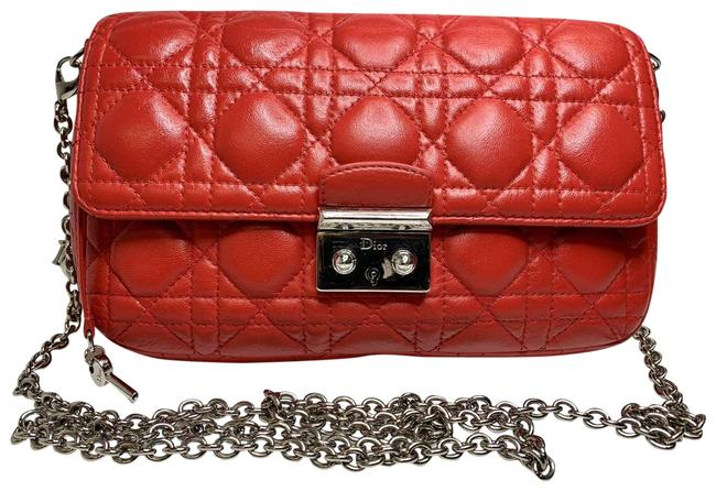 Item - Christian Fuchsia Cannage Quilted Miss Red Lambskin Leather Baguette
