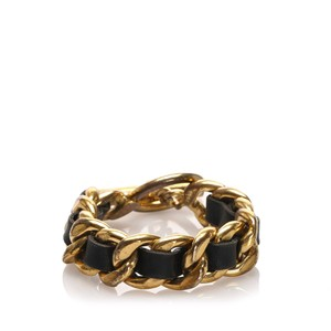 Item - Gold Leather Woven Chain Bracelet