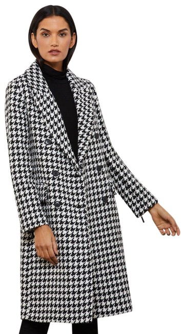 Item - Multicolor Phoenix Double-breasted Houndstooth Wool Black/White Color New. Coat Size 4 (S)