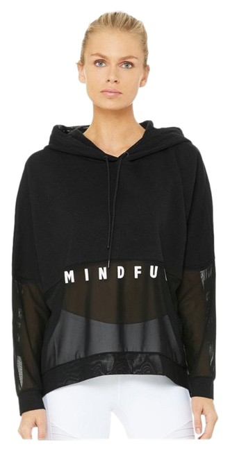 Item - Black with White Logo Mindful Perspective Hoodie Activewear Top Size 6 (S)