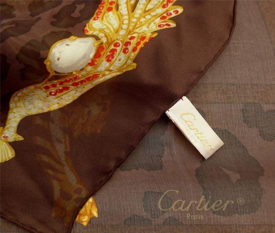 Cartier CARTIER Paris Brown Jeweled TIGERS & LEOPARDS Silk Charmeuse Scarf