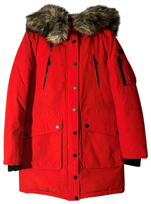 Item - Red L Heavy Parka Fur Hood Coat Size 12 (L)