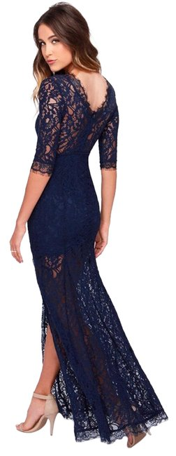 Item - Navy Blue Only One Lace Maxi Long Cocktail Dress Size 4 (S)