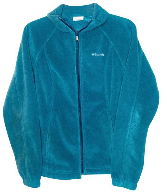 Item - Blue Teal Zip Up Fleece Activewear Outerwear Size 8 (M)
