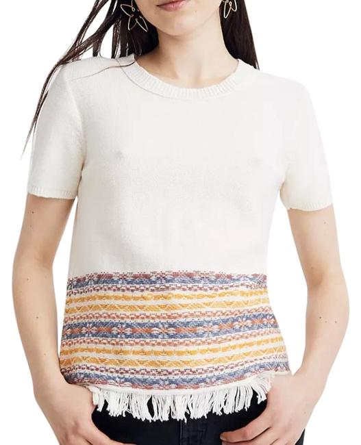 Item - Tan Fringed Jacquard Sweater Tee Shirt Size 10 (M)