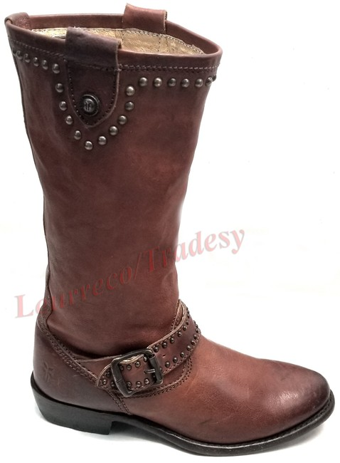 Item - Cognac Leather #75525 Mid Calf Studded Riding Motorcycle Boots/Booties Size US 5.5 Regular (M, B)