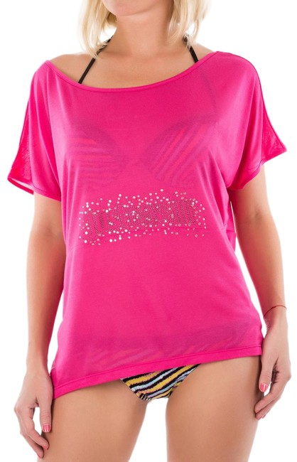 Item - Pink Relaxed Off The Shoulder Embellished Summer T-shirt Tee Shirt Size 4 (S)
