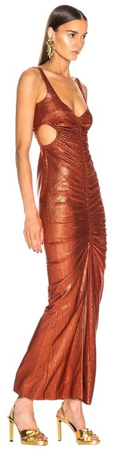 Item - Metallic Rust Orange 36(4) Sahara Rushed Long Night Out Dress Size 4 (S)