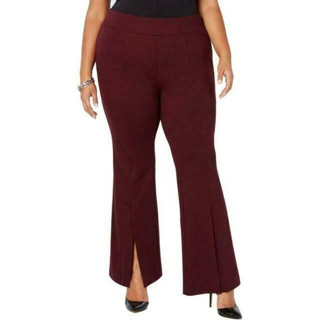 Item - Burgundy Wine Red Ponte Woman's Pull On Stretch Pants Size 28 (Plus 3x)
