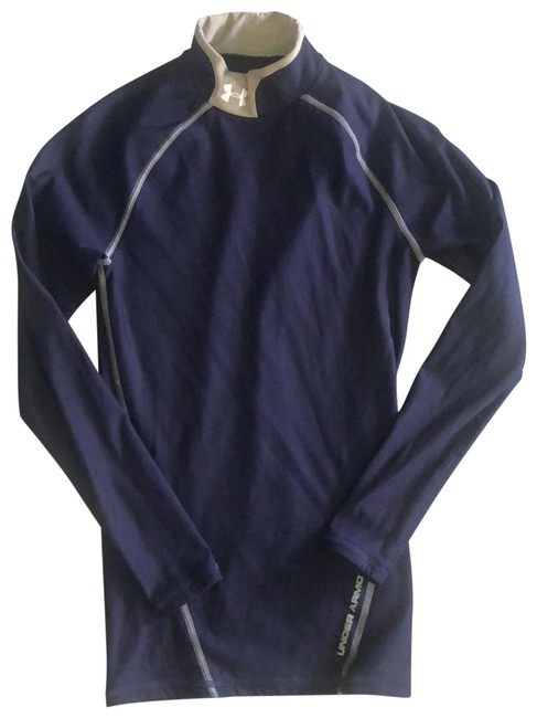 Item - Navy and Gray Mock Neck Compression Cold Gear Activewear Top Size 8 (M)