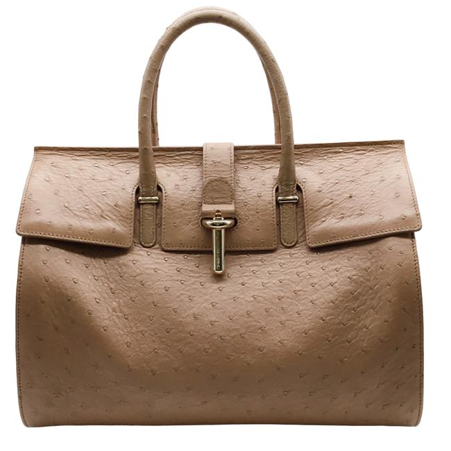 Item - Tube Round Nude Ostrich Leather Satchel