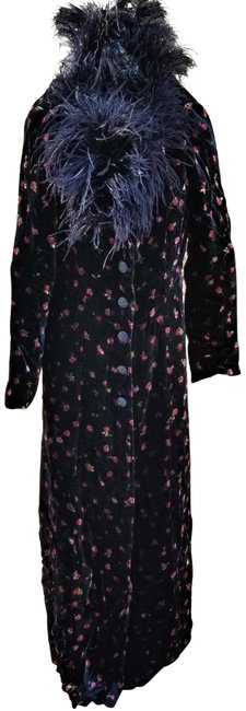 Item - Black W Pink Roses L Vtg Evening Duster Long Velvet Feather Coat Size 12 (L)