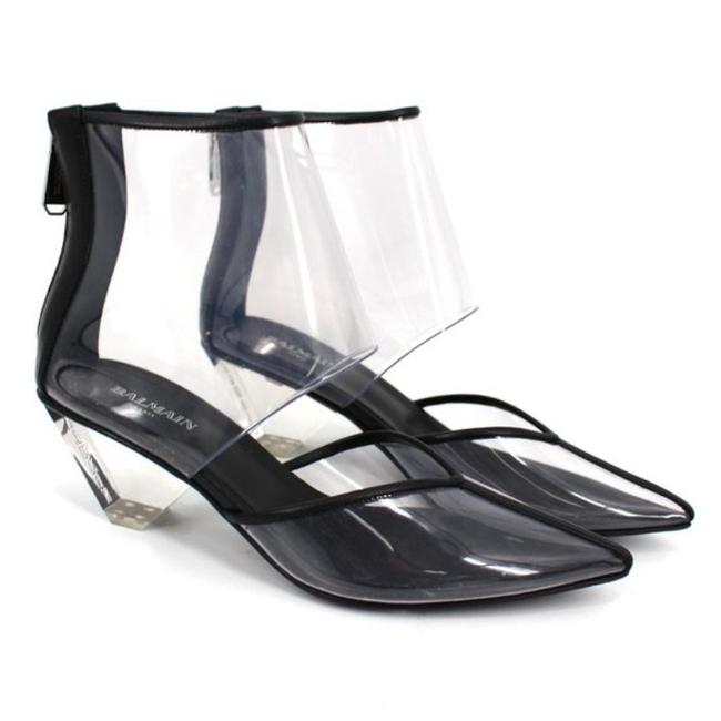Item - Black & Clear New Pvc Livy Point Toe Ankle Boots/Booties Size EU 37 (Approx. US 7) Regular (M, B)