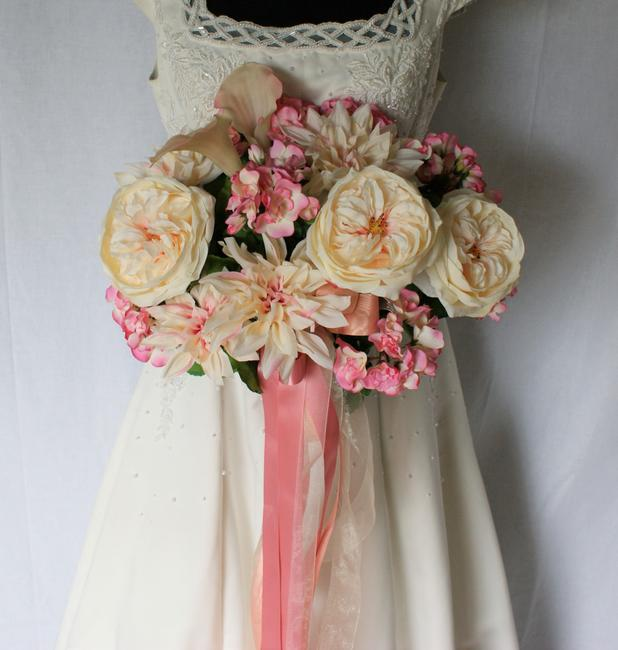 Item - Peachy Pink Ribbons and Roses Silk Wedding Bouquet