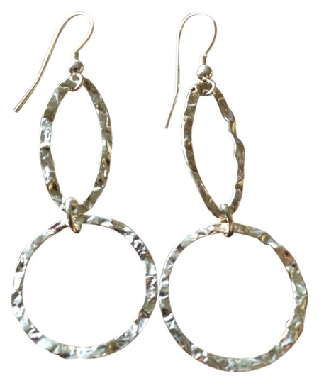 Other Handmade Sterling Silver Hammered Circle Long Dangle Earrings