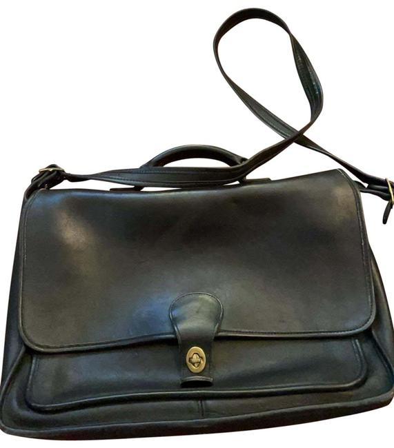 Item - Classic Small Briefcase Black Cowhide Leather Shoulder Bag