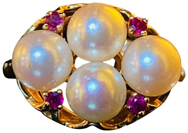 Item - Gold Magenta Pink White 14k Pearl Ruby Cluster Solid Natural Ruby Ring