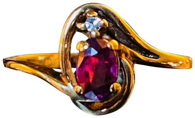 Item - Gold Magenta Red 10k Natural Ruby Solid Ruby Diamond Minimalist Ring