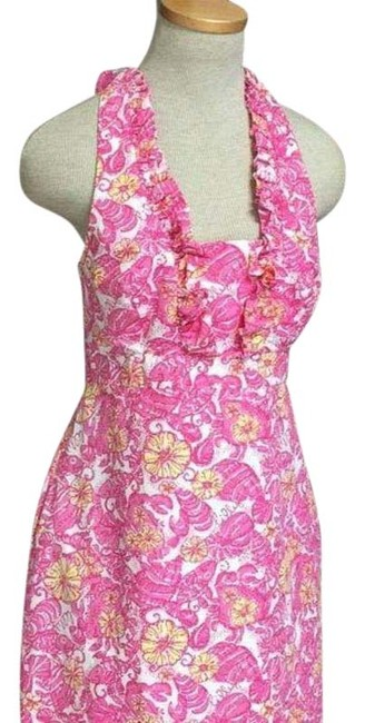 Item - Pink Yellow Halter Chum Mid-length Short Casual Dress Size 4 (S)