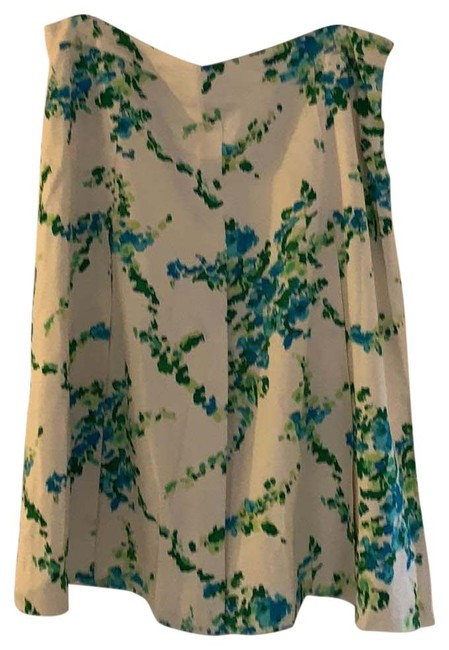 Item - Blue Green Floral Pattern On Cream Print Skirt Size 12 (L, 32, 33)
