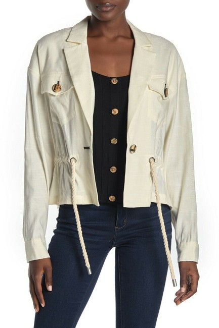 Item - White Magni Drawstring Waist Women's Jacket Size 4 (S)