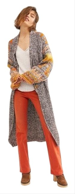 Item - Gray Orange Birds Of A Feather Duster Chunky Knit Duster Cardigan Size 8 (M)