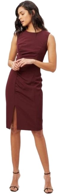 Item - Red Pink Cady Hera Ruched Sheath In Wine Mid-length Work/Office Dress Size 6 (S)