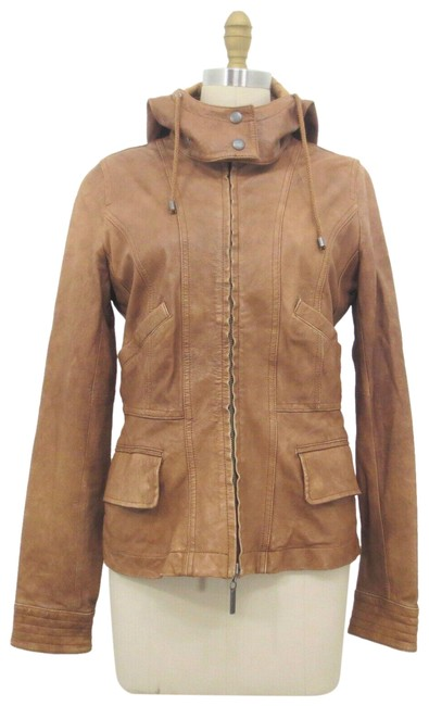 Item - Brown S - Detachable Hood Zip Up Long Sleeve Jacket Size 4 (S)