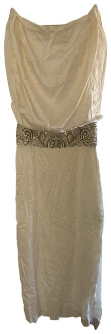 Item - Ivory French Designer Embroidered Maxi Long Formal Dress Size 12 (L)