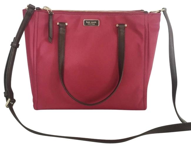 Item - Medium Satchel Dawn Sapling Purse Snap Closure with Two Large Zipper Pockets On Each Side Interior Plum Nylon Tote