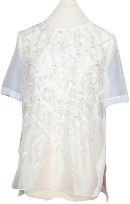 Item - Ivory Embellished Sheer Silk Organza T-shirt Sequin Beaded Blouse Size 10 (M)