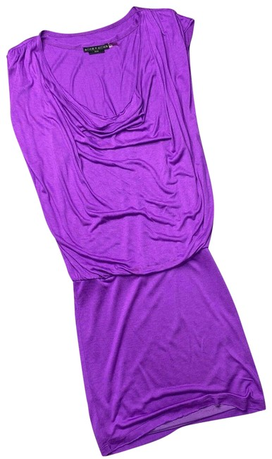 Item - Purple Cowl Neck Drape Front Small Short Casual Dress Size 4 (S)